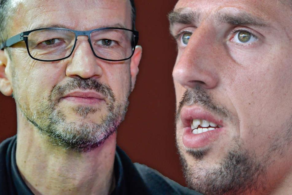 Fotomontage: Bayern-Profi Franck Ribéry (Re.) holte nach der Kritik an seinem Gold-Steak zum verbalen Rundumschlag aus.