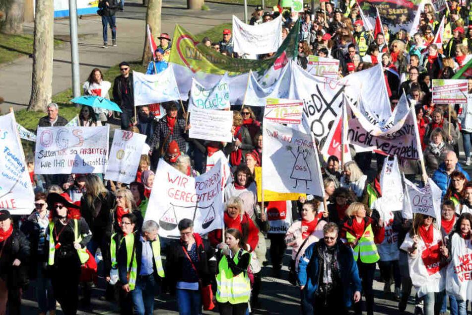 Am Dienstag machen die Mitarbeiter des Landes Baden-Württemberg in Karlsruhe auf sich aufmerksam. (Symbolbild)