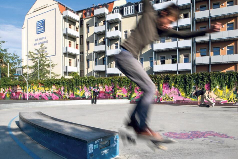 Der Spielplatz Roßthaler Str./Löbtauer Straße ist beliebt bei Skatern.