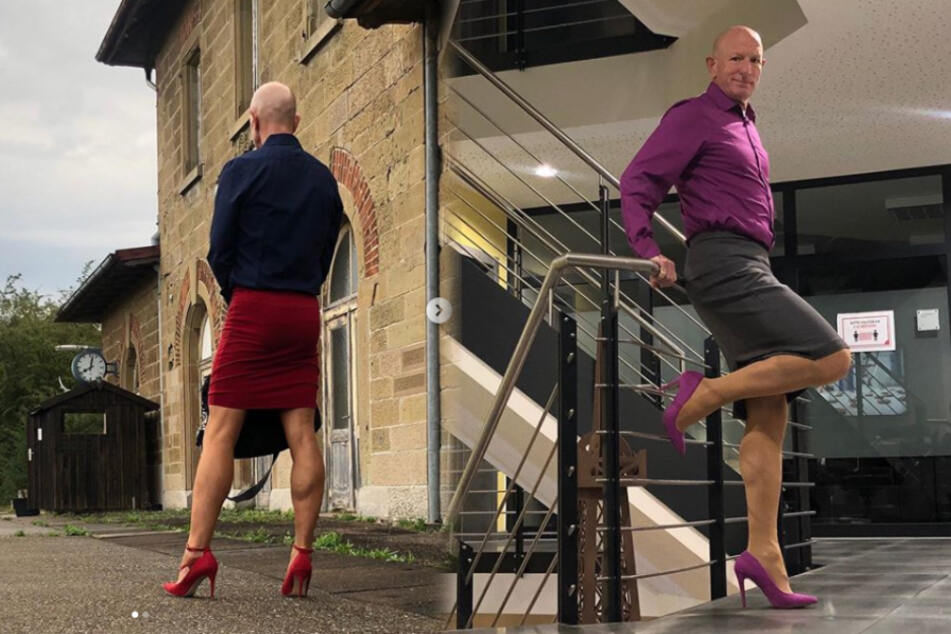 Man challenges gender stereotypes and goes to work in high heels