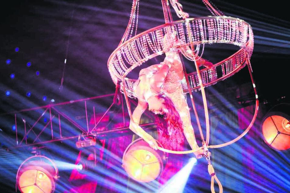 Kourtney verführt mit ihren Kunststücken hoch oben am Kronleuchter das Publikum.