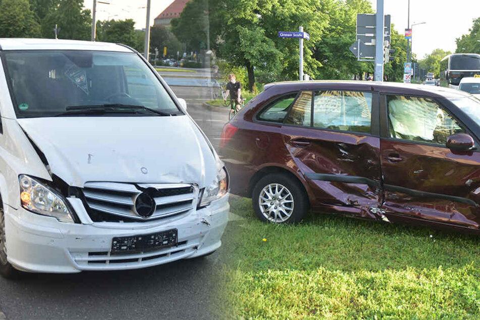Unfall am Pirnaischen Platz: Fahrer in Auto eingeklemmt