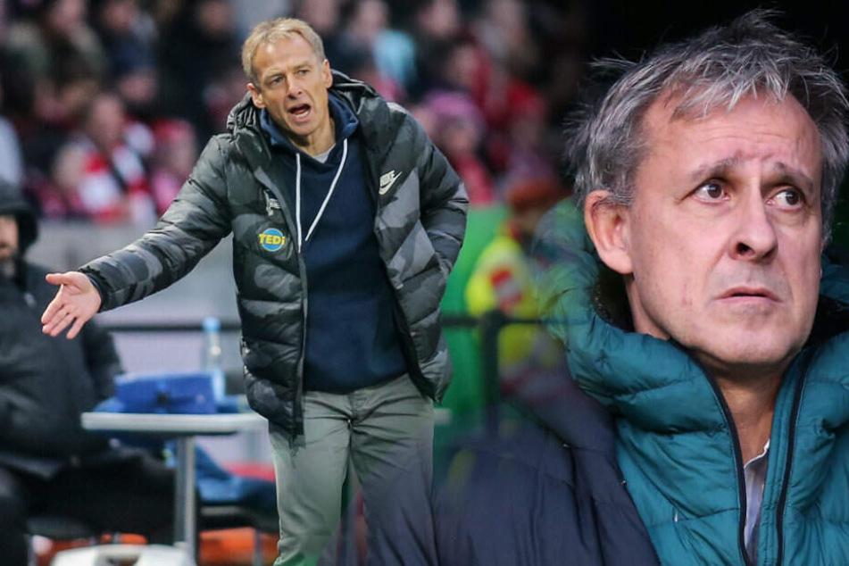 Jürgen Klinsmann will mit Hertha hoch hinaus. Pierre Littbarski sieht die Pläne skeptisch.