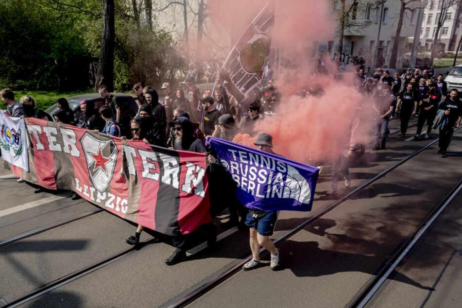Vor der Partie waren die Anhänger aus Berlin zum Stadion nach Connewitz gezogen.