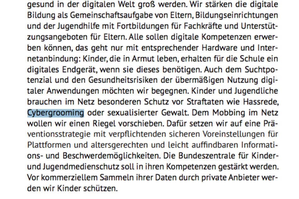 """Blick ins Wahlprogramm der Grünen. Den Begriff """"Cybergrooming"""" kennt jeder. Oder doch nicht?"""