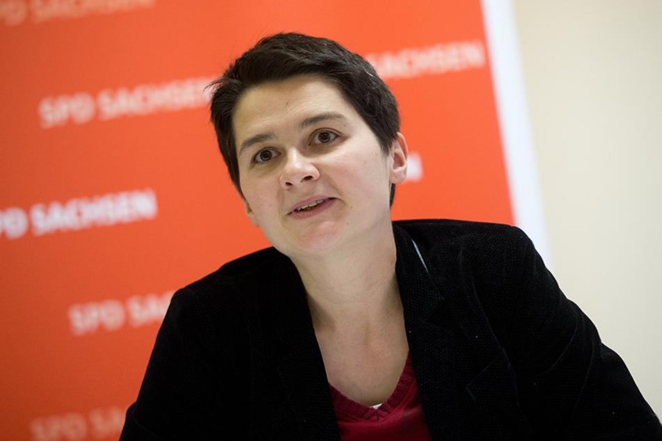Daniela Kolbe auf einer Pressekonferenz des SPD-Landesvorstands. Die 37-Jährige führt die Landesliste der SPD Sachsen für die Bundestagswahl im September an.