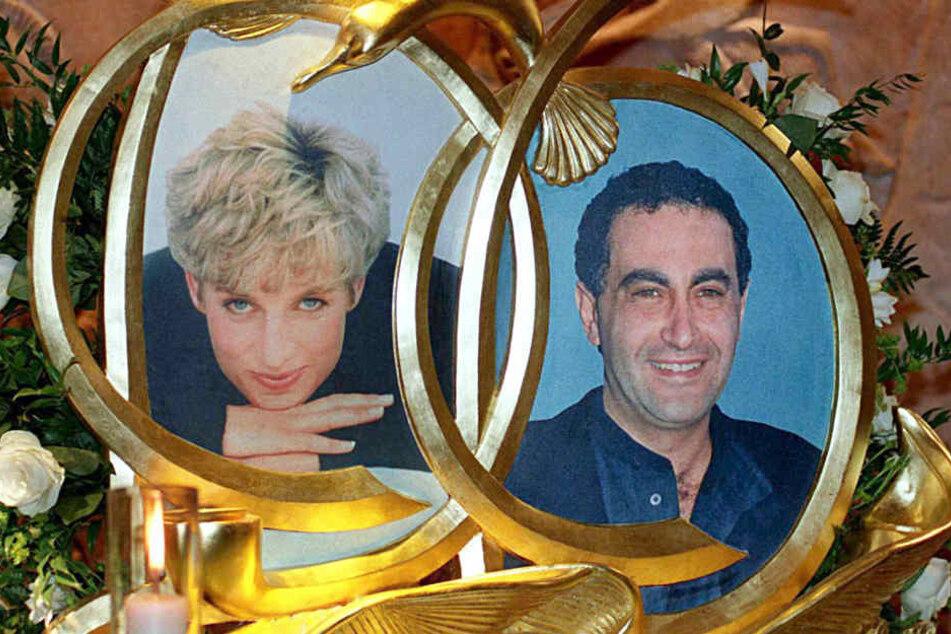 Die Porträts von Prinzessin Diana und Dodi al Fayed. Sie starben zusammen am 31. August 1997.