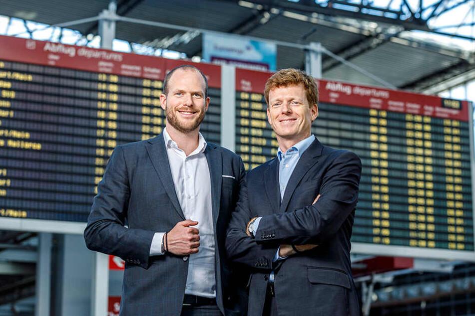 Flughafen-Boss Götz Ahmelmann (48, r.) und Laudamotion-Chef Andreas Gruber (33).