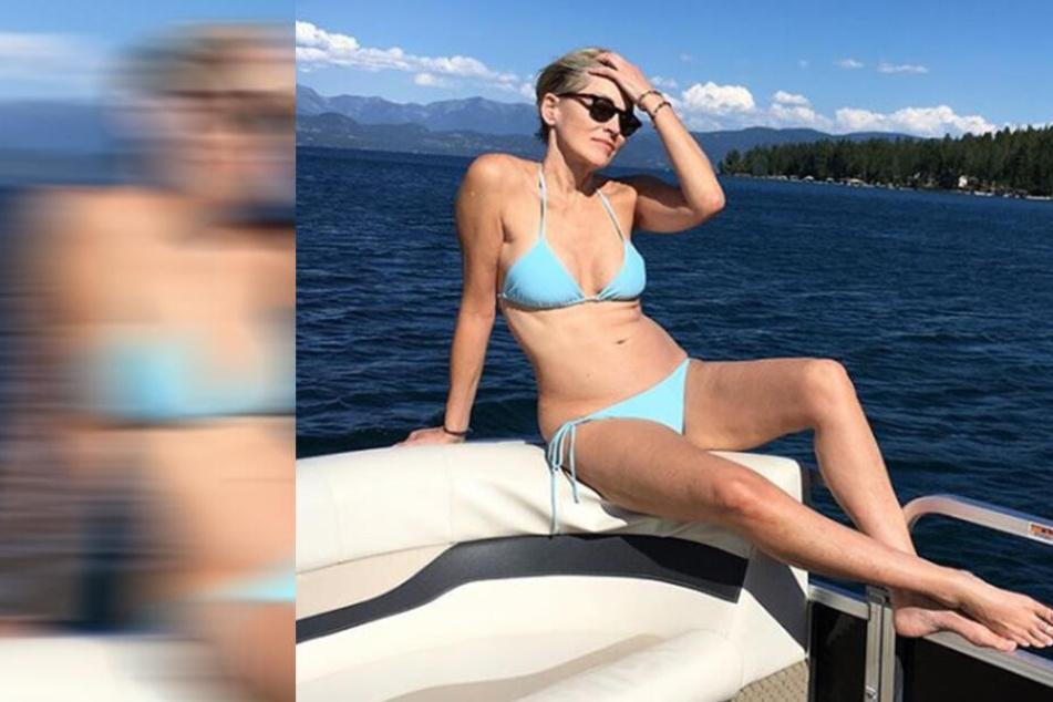 Sharon Stone erholt sich beim Familienausflug auf dem Boot.