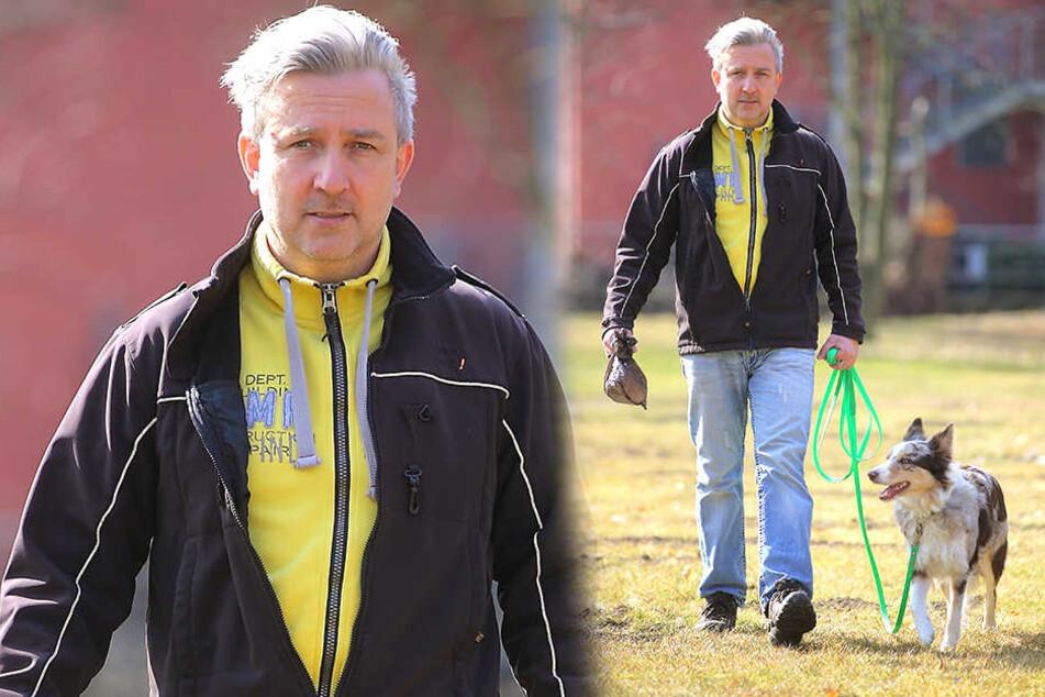 Torsten Kurz (51), hier mit Border Collie Dörte (2), organisiert Hunde-Kot-Events, damit Parks sauberer werden.