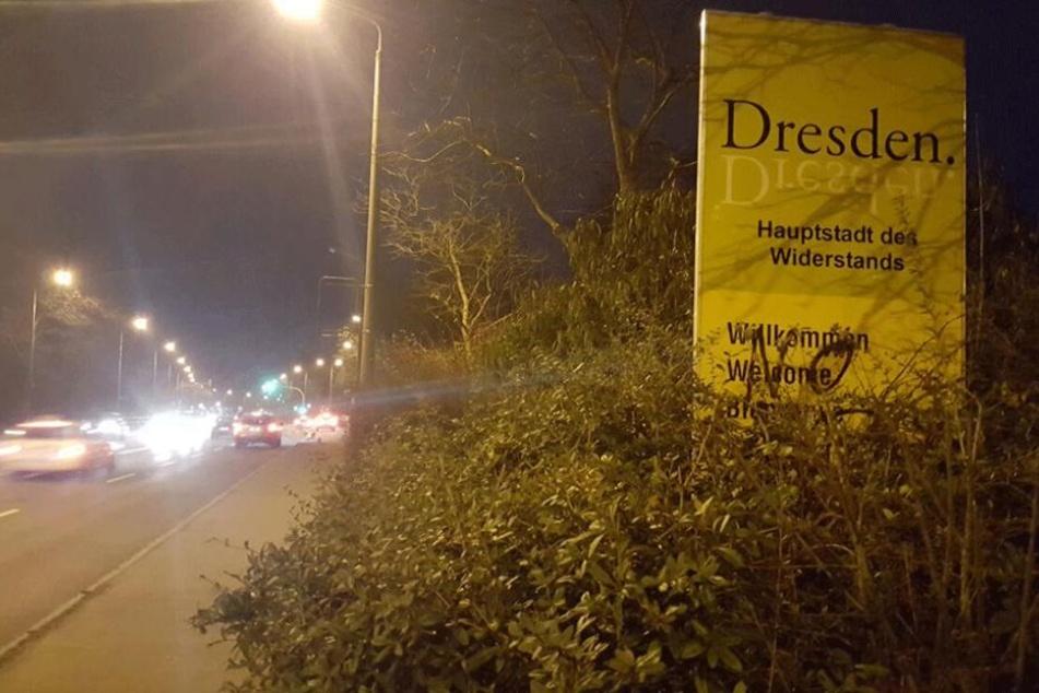 Hier ein weiteres Schild an der Meißner Landstraße im Stadtteil Briesnitz.