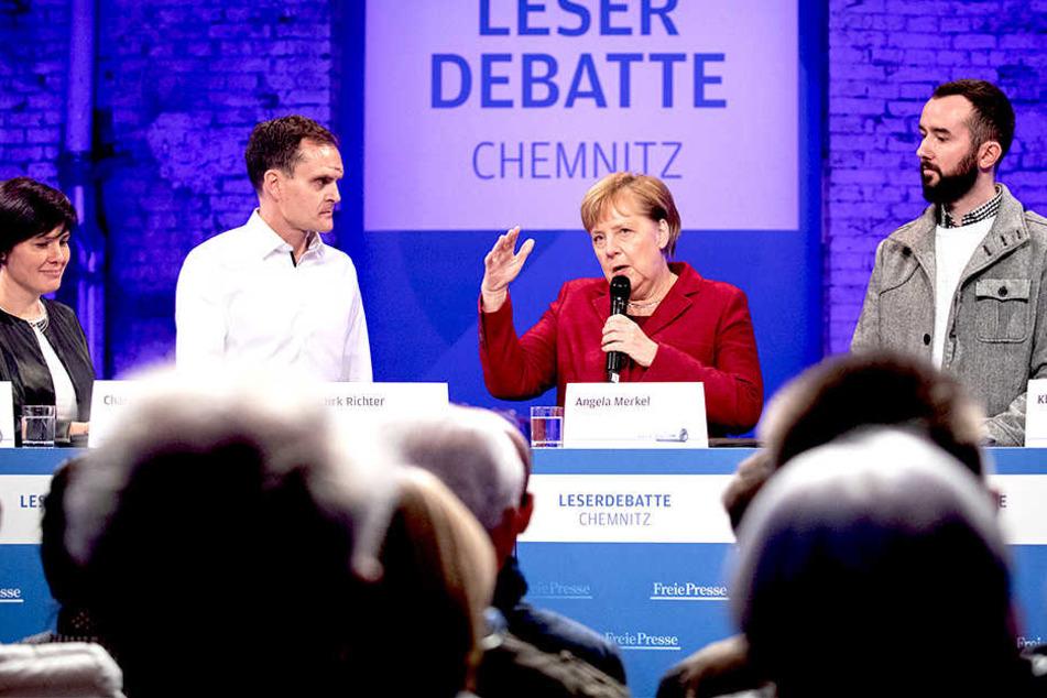 Die Kanzlerin musste sich bei der Leserdebatte in Chemnitz kritischen Nachfragen stellen.
