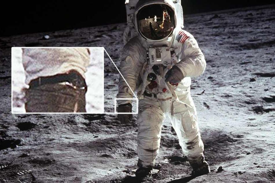 Nicht zuletzt die frühe Raumfahrt war ein wichtiges Betätigungsfeld für hochpräzise mechanische Armbanduhren. Hier Buzz Aldrin mit der Omega Speedmaster am langen Klett-Armband um den Raumanzug- Ärmel.