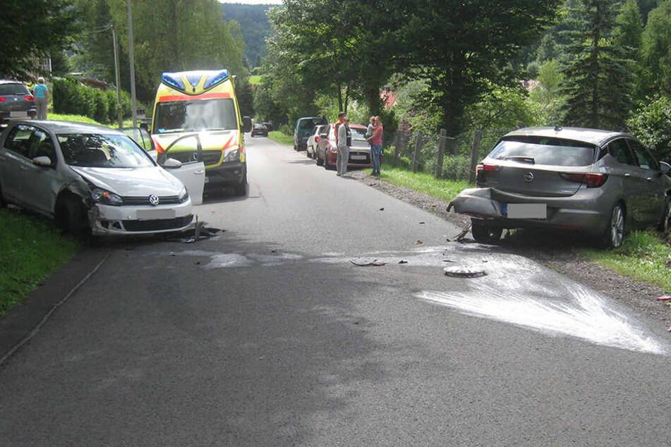 Der Opel hing nach dem Crash im Maschendrahtzaun.