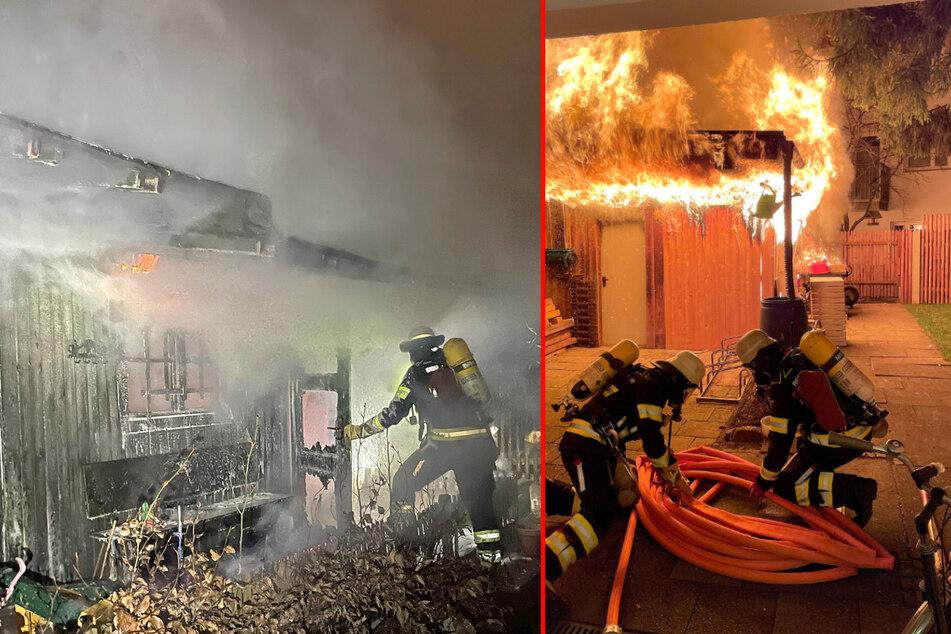 Gartenhütte brennt lichterloh! Feuerwehrmann bei Einsatz in Schwabing verletzt