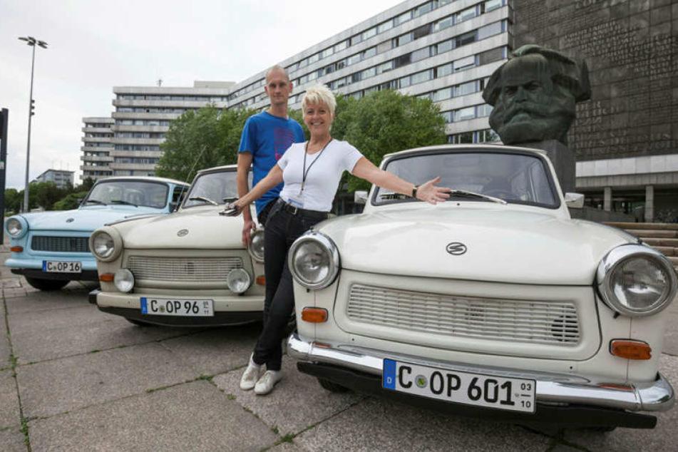 Gästeführerin Veronika Leonhardt (58) und Trabi-Vermieter Oliver Presch (30) wollen mit den Touren mehr Touristen anlocken.