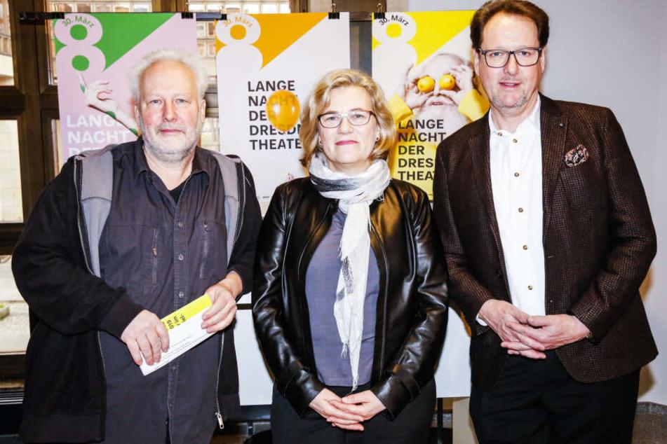 Drei Intendanten präsentierten das Programm (v.l.): Jörg Berger (TheaterRuine), Carena Schlewitt (Hellerau) und Peter Theiler (Semperoper).