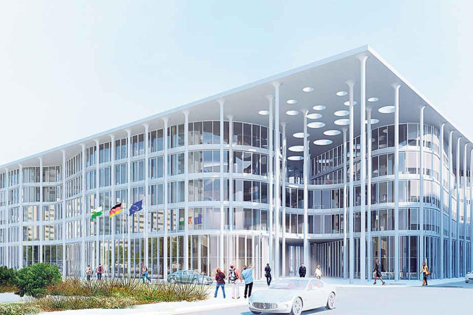 So futuristisch soll die neue SAB-Zentrale in der Leipziger City aussehen.  Kosten: mindestens 110 Millionen Euro.