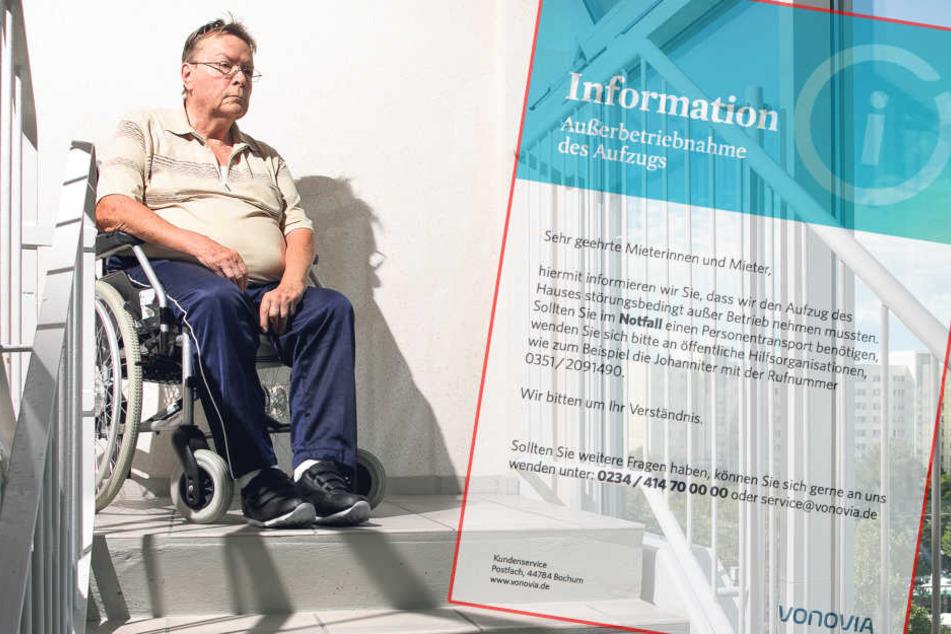 Prohlis-Block acht Tage ohne Fahrstuhl: Rollifahrer in Wohnung gefangen!