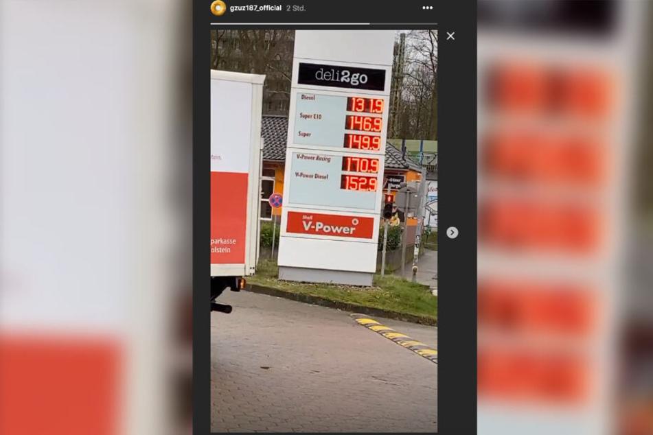 Während im Gericht alle auf Gzuz warten, postet er auf Instagram ein Video von einer Tankstelle.