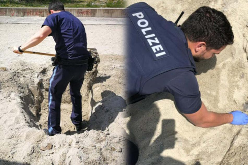 Die Polizisten absolvierten auf einem Spielplatz in München einen nicht allzu alltäglichen Einsatz.