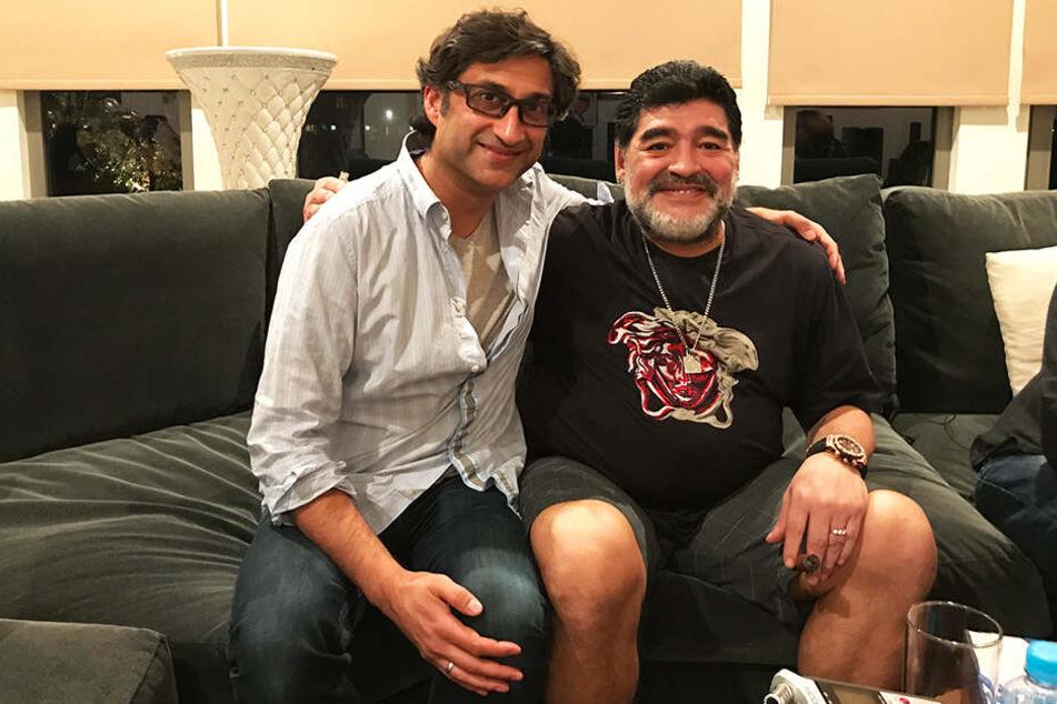 Regisseur Asif Kapadia (l.) mit Diego Armando Maradona.
