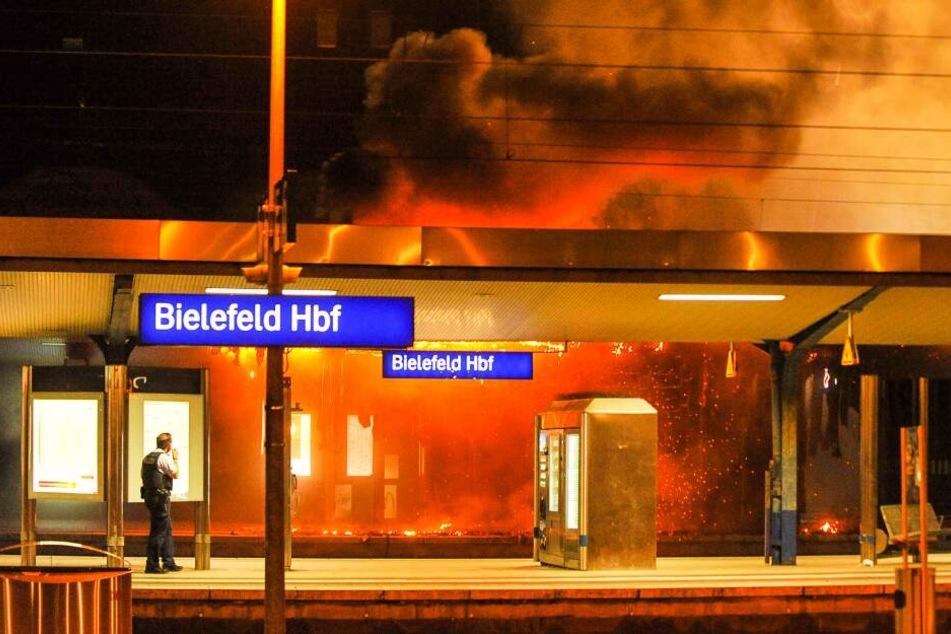 Feuer am Bielefelder Hauptbahnhof: Gleise vollständig gesperrt