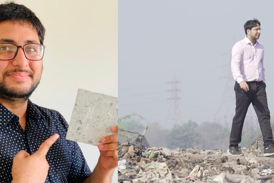 Binish Desai presenting the material of his up-cycled brick (l.); Binish Desai visiting a landfill (r.).
