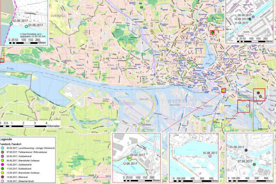 An diesen Stellen im Hamburger Stadtgebiet sind die Leichenteile gefunden worden.