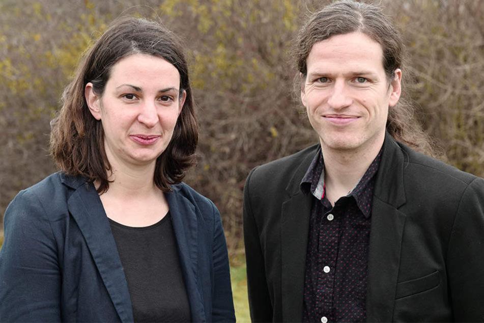 Der übrige Landesvorstand der sächsischen Grünen um Co-Chefin Christin Melcher (links) hat auf den Wirbel um die Hamburg-Reise von Jürgen Kasek (rechts) reagiert.