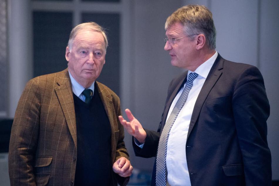 Alexander Gauland (li) im Gespräch mit dem bisherigen Parteivorsitzenden Jörg Meuthen.