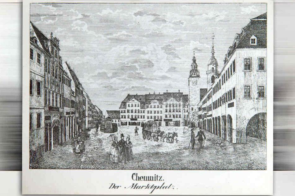 Der Marktplatz in altem Gewand. Die Anordnung der Gebäude blieb bis heute gleich.