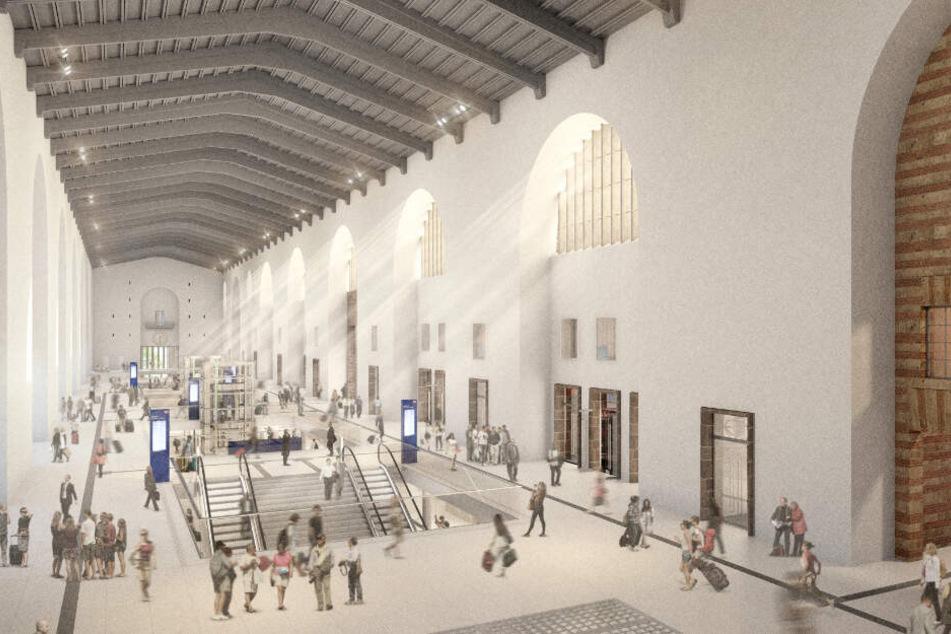 So soll es künftig im Inneren des Bahnhofsgebäudes aussehen.