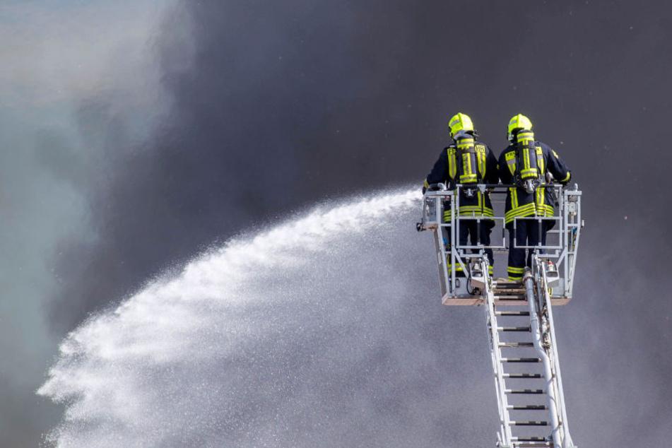 Schwarze Rauchsäule an der A9: Großbäckerei in Flammen