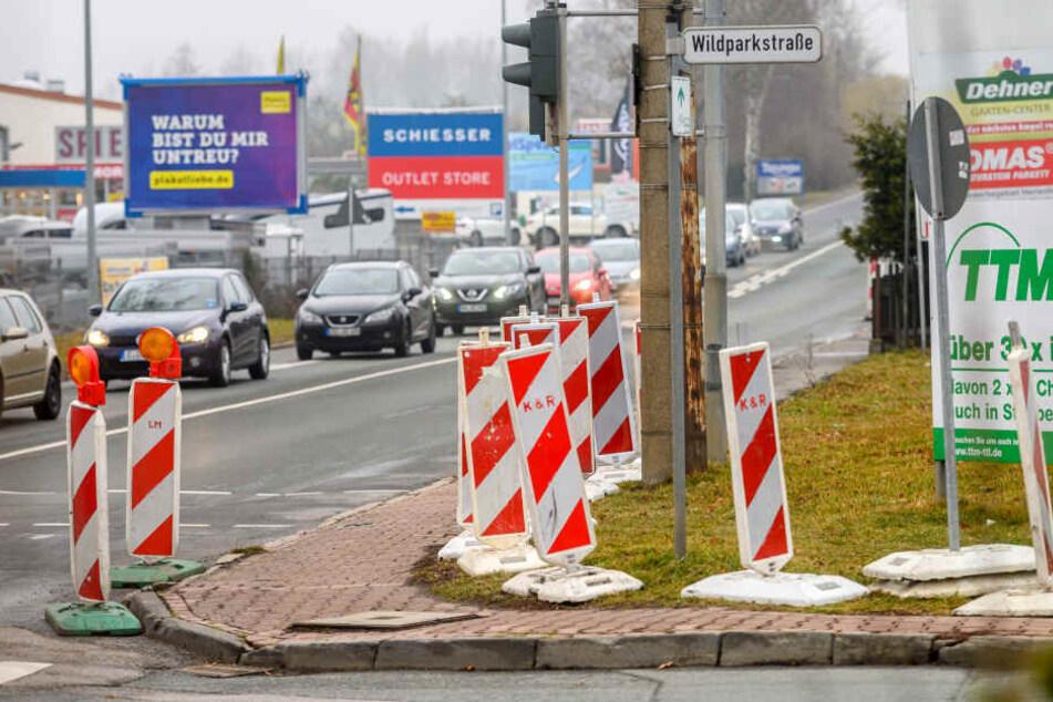 In der Leipziger Straße Ecke Wildparkstraße werden ab Montag die Ampeln erneuert.