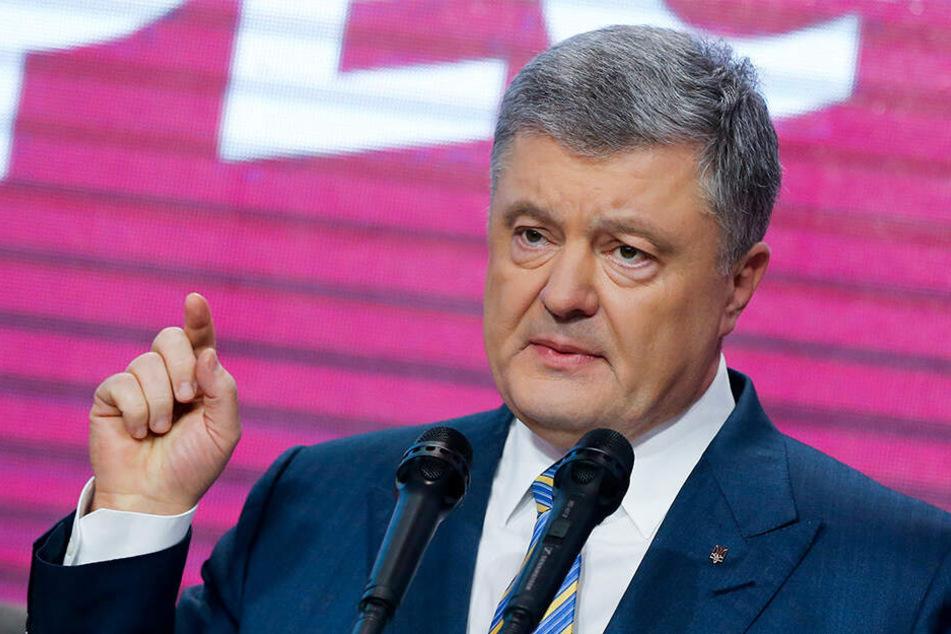 Petro Poroschenko, Präsident der Ukraine, spricht vor seinen Anhängern in seinem Hauptquartier nach der zweiten Runde der Präsidentschaftswahlen.