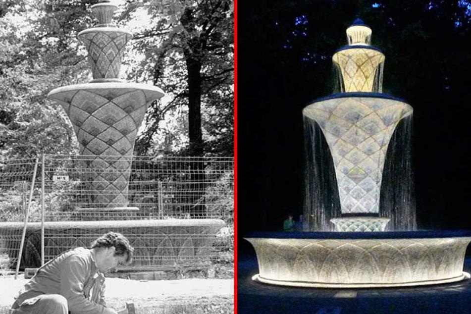 """Damals und heute: Schon in der Vergangenheit war der Mosaikbrunnen immer wieder ein  """"Patient""""."""