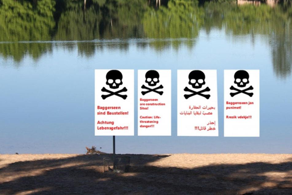 Die Idylle trügt: Zettel warnen mehrsprachig vor Gefahren in Baggerseen