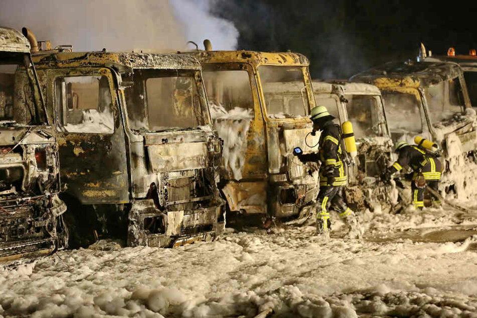 Nur noch Schutt und Asche! Millionenschaden bei Lkw-Brand