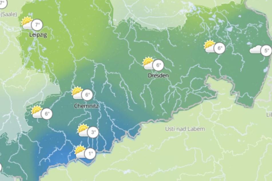 Zwar liegen die Tageshöchsttemperaturen in Sachsen am Samstag bei 7 Grad, vor allem im Leipziger Raum kommt aber einiges an Schnee herunter.