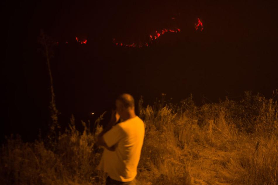 Ein Anwohner beobachtet in Casalinho von einem Hügel aus ein circa 300 Meter entferntes Feuerband, das sich unweit des Dorfes entlang zieht.