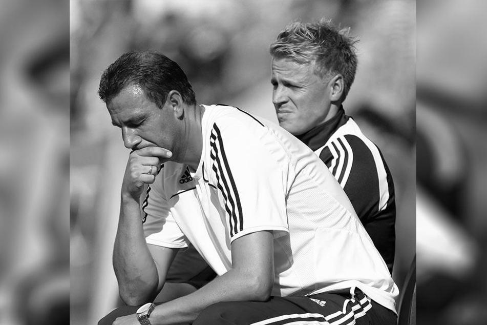 Lars Weißenberger (hinten) mit dem damaligen RB-Chefcoach Tino Vogel. Weißenberger verlor am Sonntag den Kampf gegen die Nervenkrankheit ALS.