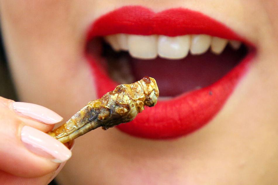 Zukunftsnahrung: Eine junge Frau probiert eine geröstete Heuschrecke. (Archivbild)