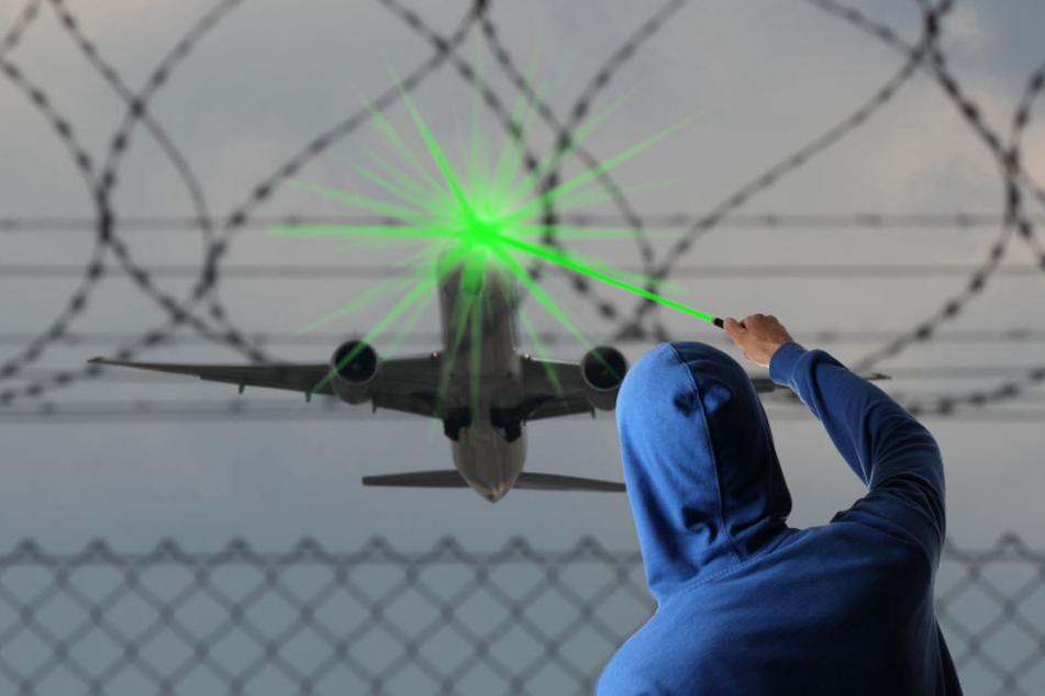 70 Menschen saßen im Flugzeug, als ein 28-Jähriger mit einem Laserpointer das Cockpit traf.