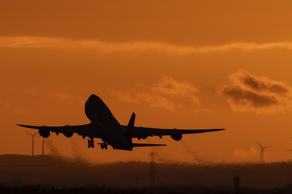 Eine Boeing 747 startet vom Flughafen Frankfurt in den Abendhimmel.