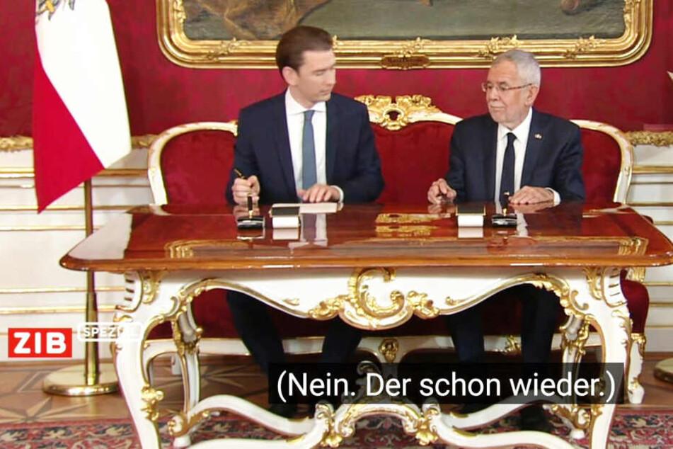 Kanzler Kurz wurde im Untertitel nicht gerade Willkommen geheißen.