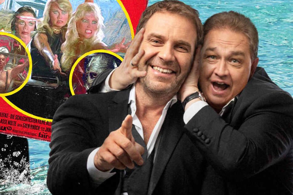 """Peter Rütten und Oliver Kalkofe (v.l.) feiern ihre 100. Sendung mit dem vielversprechendem Film """"Drei Engel auf der Todesinsel"""". Wird sicherlich totaler Müll. Super."""