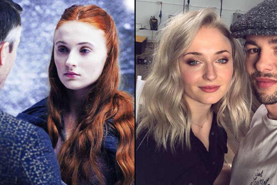 Sophie Turner noch mit roten Haaren (links) und nun mit komplett neuem Look (rechts).