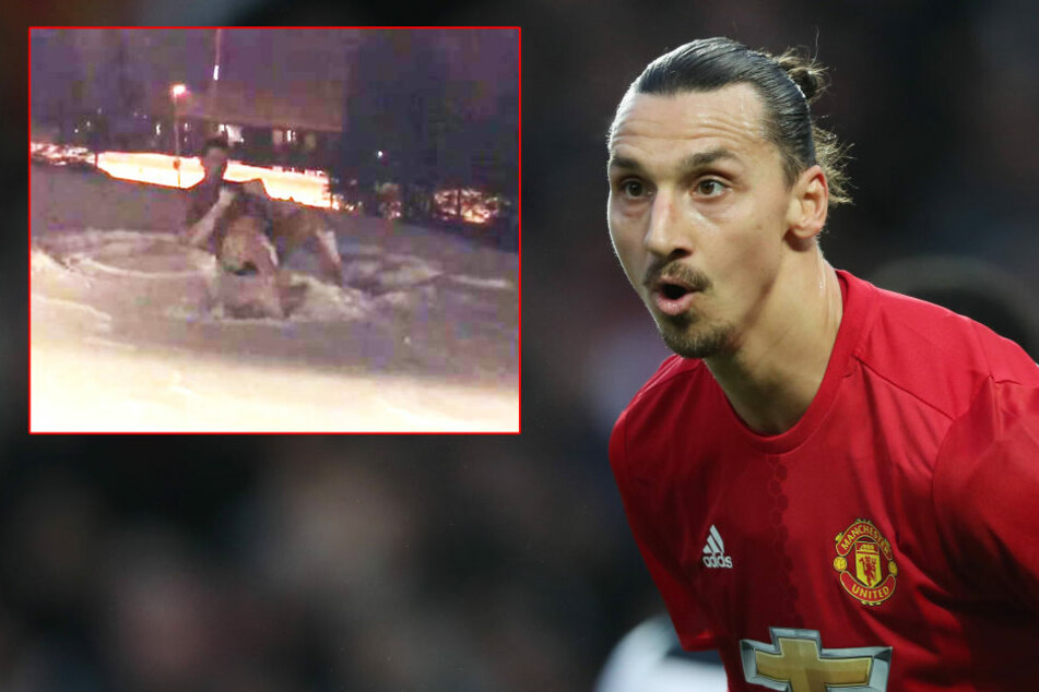 Crazy! Hier wälzt sich Fußball-Star Ibrahimovic nackt im Schnee