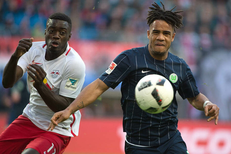 Auch gegen Wolfsburg (hier gegen Daniel Didavi) war für Dayot Upamecano und RB Leipzig nichts zu holen.